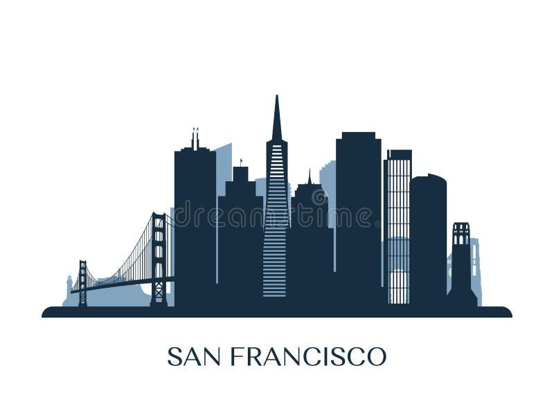 Horizonte de San Francisco, silueta monocromática stock de ilustración