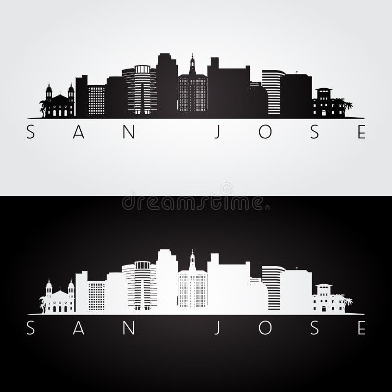 Horizonte de San Jose los E.E.U.U. y silueta de las señales ilustración del vector