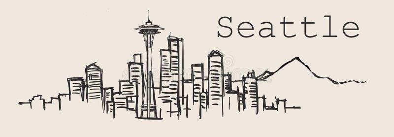 Horizonte de Seattle, ejemplo a mano del vector del bosquejo aislado en el fondo blanco libre illustration