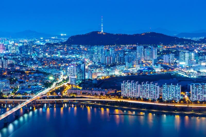 Horizonte de Seul del pico fotografía de archivo