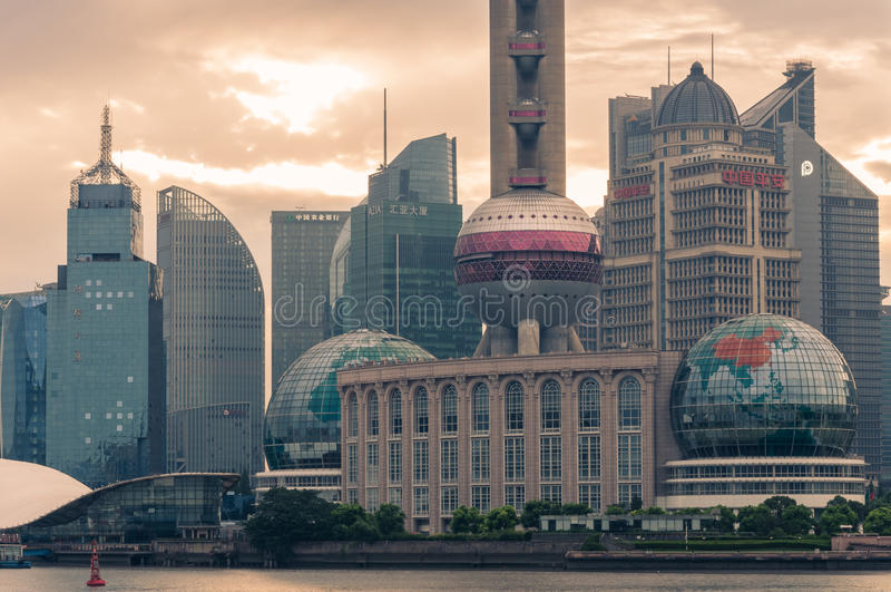 Horizonte de Shangai imagenes de archivo