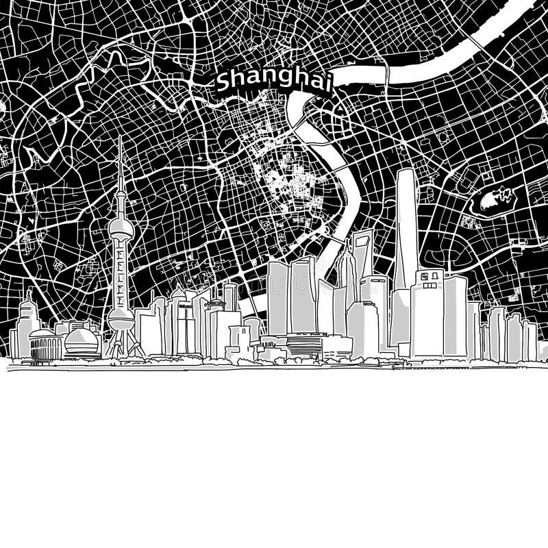 Horizonte de Shangai con el mapa stock de ilustración