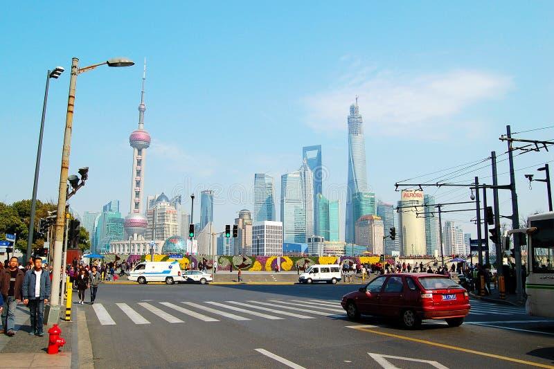 Horizonte de Shanghai Pudong Lujiazui imágenes de archivo libres de regalías