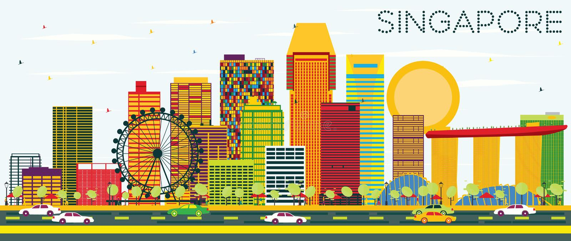Horizonte de Singapur con los edificios del color y el cielo azul libre illustration