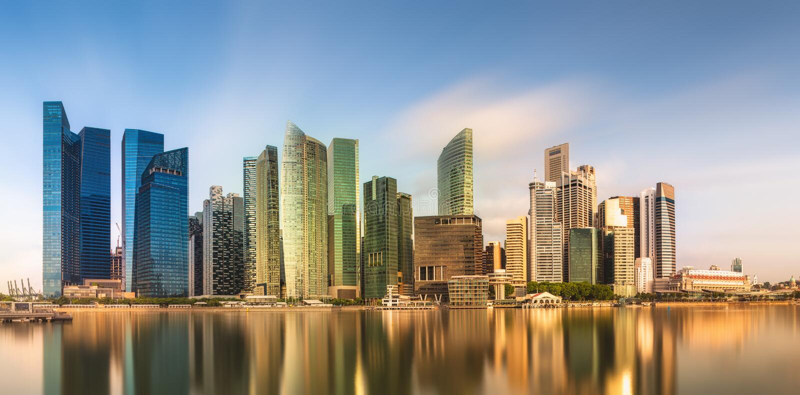 Horizonte de Singapur y opinión Marina Bay fotos de archivo libres de regalías