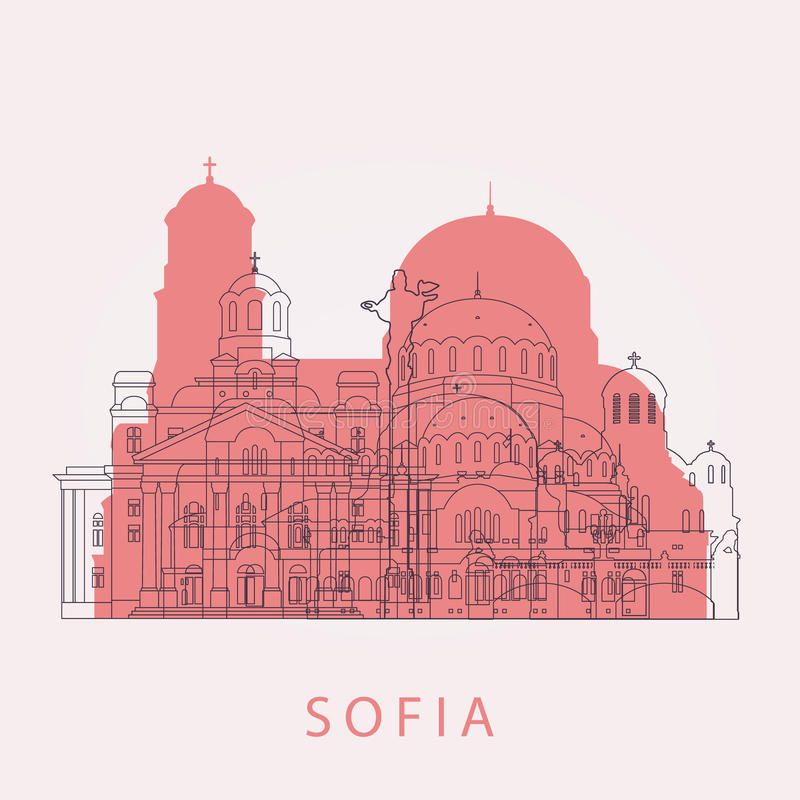 Horizonte de Sofía del esquema con las señales ilustración del vector
