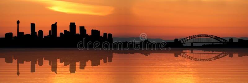 Horizonte de Sydney en la puesta del sol stock de ilustración