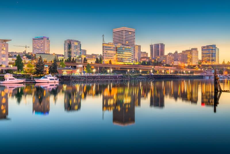 Horizonte de Tacoma, Washington, los E.E.U.U. imagenes de archivo