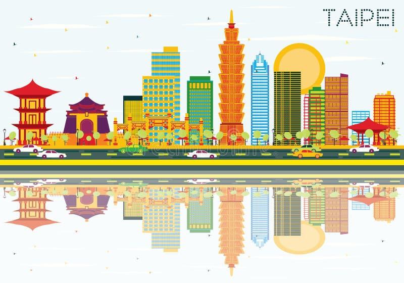 Horizonte de Taipei con los edificios del color, el cielo azul y reflexiones libre illustration