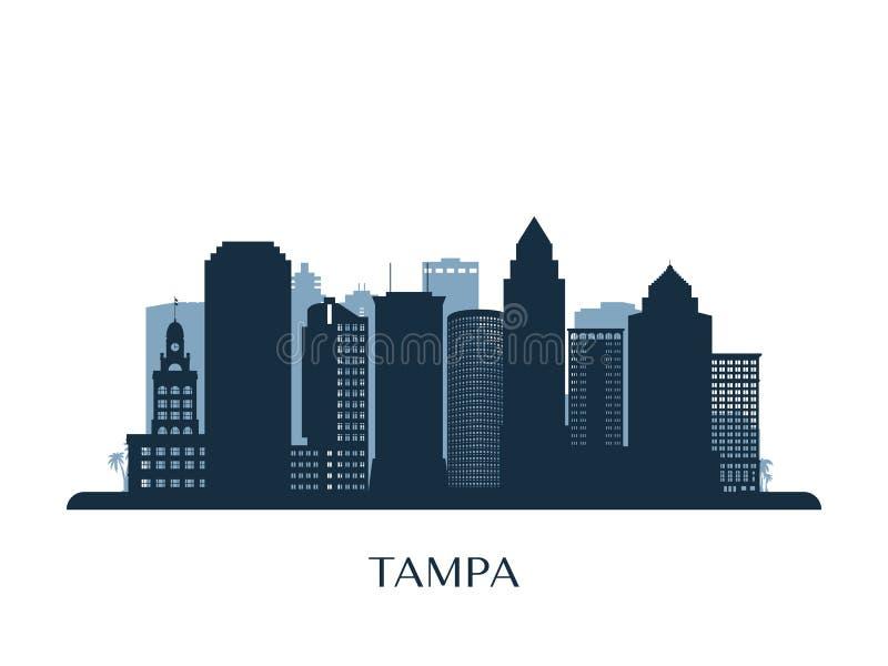 Horizonte de Tampa, silueta monocromática libre illustration