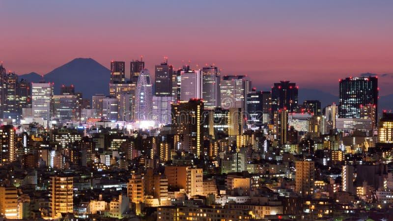 Horizonte de Tokio y montaña de Fuji imagenes de archivo