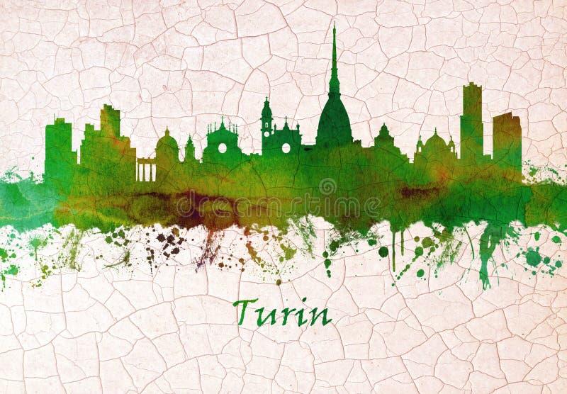 Horizonte de Turín Italia ilustración del vector
