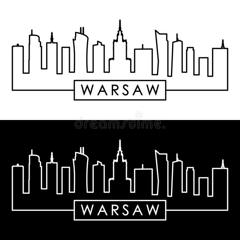 Horizonte de Varsovia estilo linear Modelo del diseño libre illustration