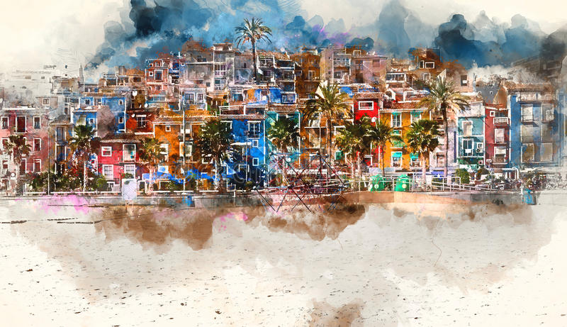 Horizonte de Villajoyosa, pintura digital de la acuarela españa libre illustration