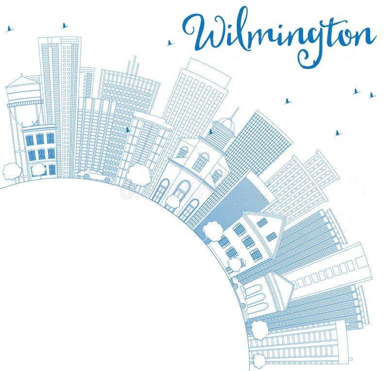 Horizonte de Wilmington del esquema con los edificios y el espacio azules de la copia ilustración del vector