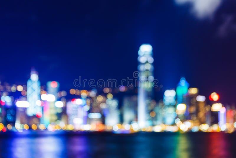 Horizonte Defocused de Hong Kong imágenes de archivo libres de regalías