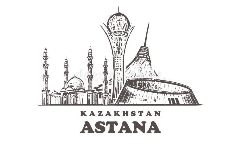 Horizonte del bosquejo de Astaná Nur-sultán, ejemplo exhausto del vector de la mano de Astaná ilustración del vector