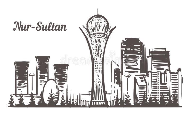 Horizonte del bosquejo de Astaná Nur-sultán, ejemplo exhausto del vector de la mano de Astaná stock de ilustración