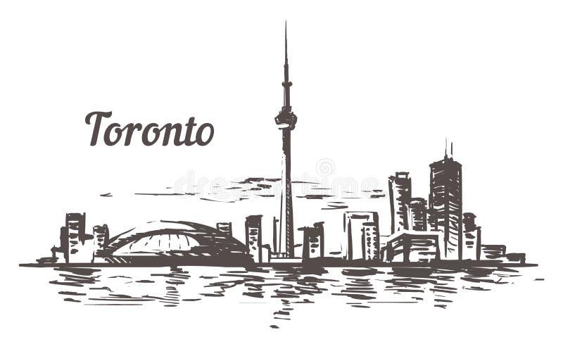 Horizonte del bosquejo de Toronto Ejemplo exhausto del vector de la mano de Toronto, Canadá libre illustration