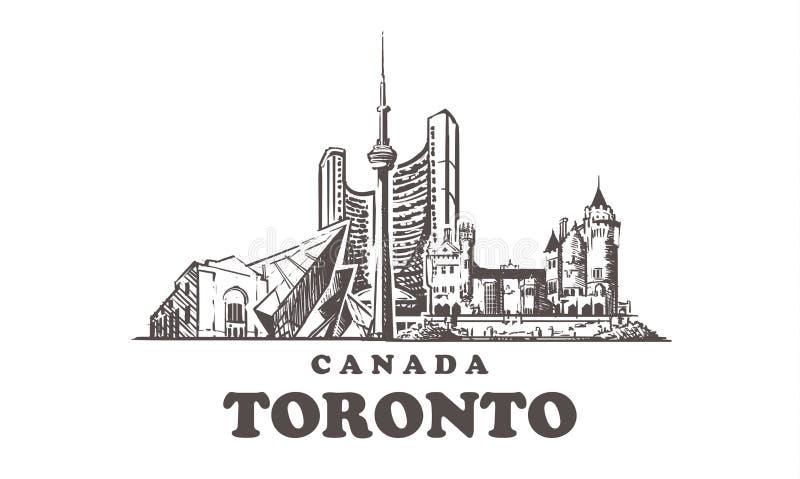 Horizonte del bosquejo de Toronto Ejemplo exhausto del vector de la mano de Canad?, Toronto ilustración del vector