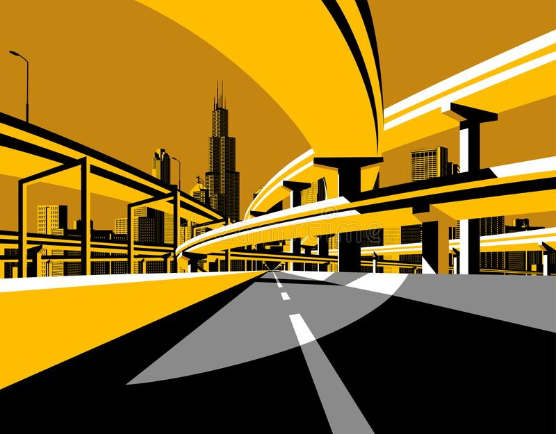 Horizonte del camino y de la ciudad del paso superior de la carretera en estilo plano libre illustration