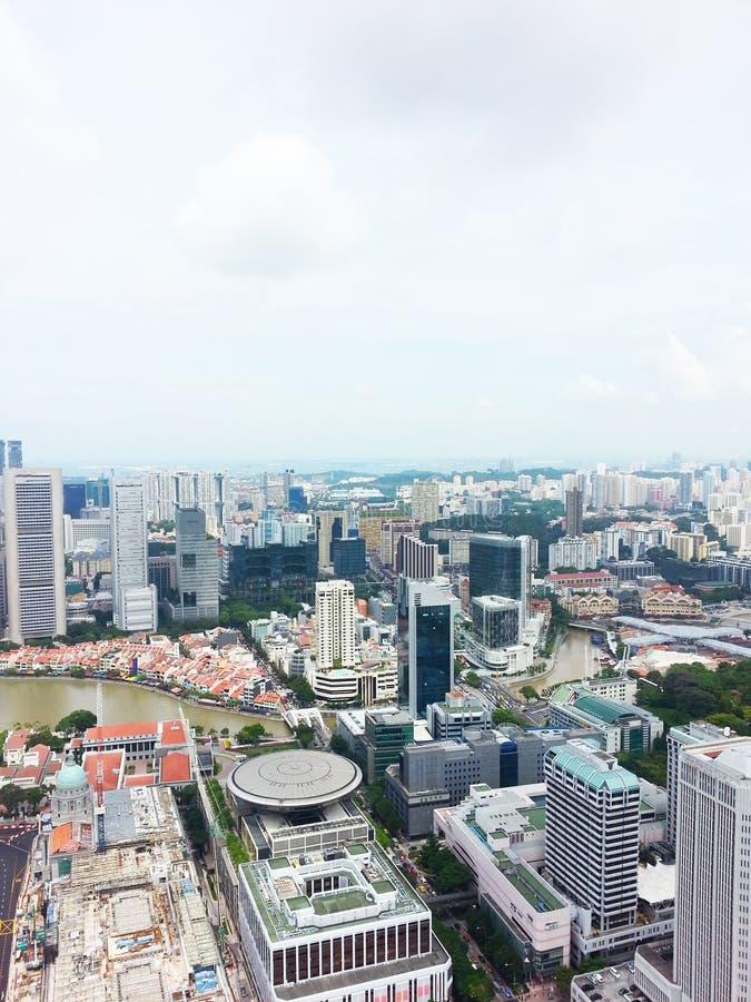 Horizonte del distrito financiero de Singapur fotos de archivo libres de regalías