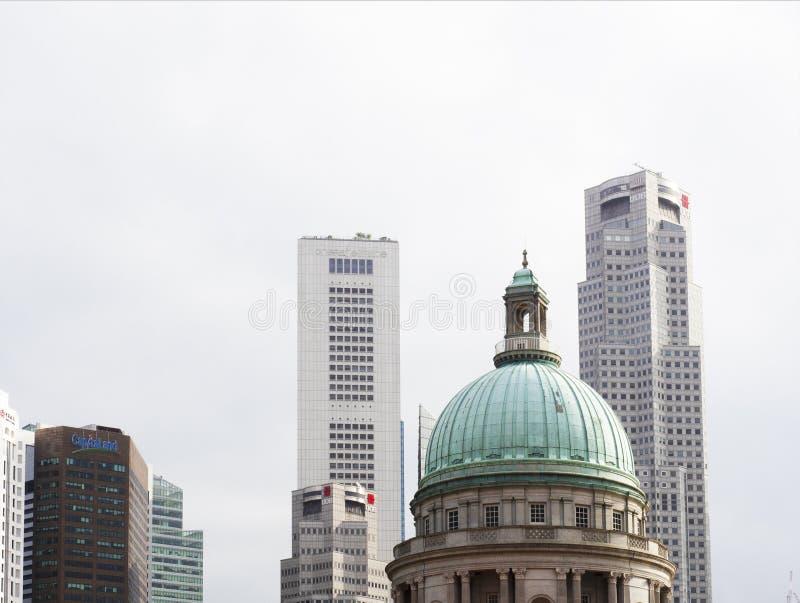 Horizonte del distrito financiero de Singapur del National Gallery fotografía de archivo libre de regalías