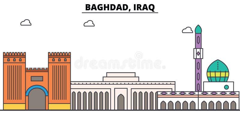 Horizonte del esquema de Bagdad, Iraq, línea fina plana árabe iconos, señales, ejemplos Paisaje urbano de Bagdad, Iraq, viaje ára ilustración del vector