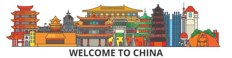 Horizonte del esquema de China, línea fina plana china iconos, señales, ejemplos Paisaje urbano de China, viaje chino del vector stock de ilustración