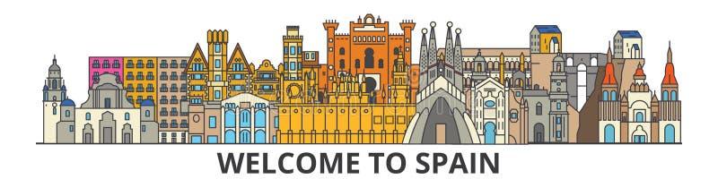 Horizonte del esquema de España, línea fina plana española iconos, señales, ejemplos Paisaje urbano de España, ciudad del viaje d stock de ilustración
