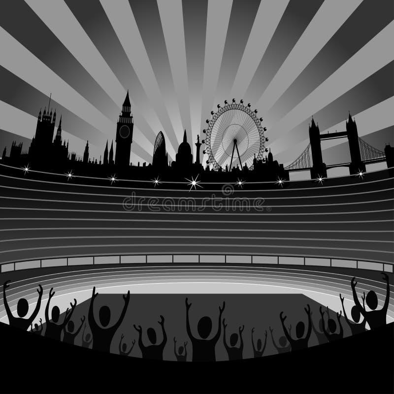 Horizonte del estadio y de Londres - vector ilustración del vector