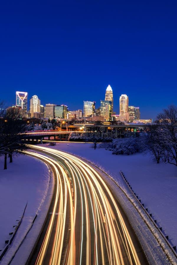 Horizonte del invierno de Charlotte imagen de archivo