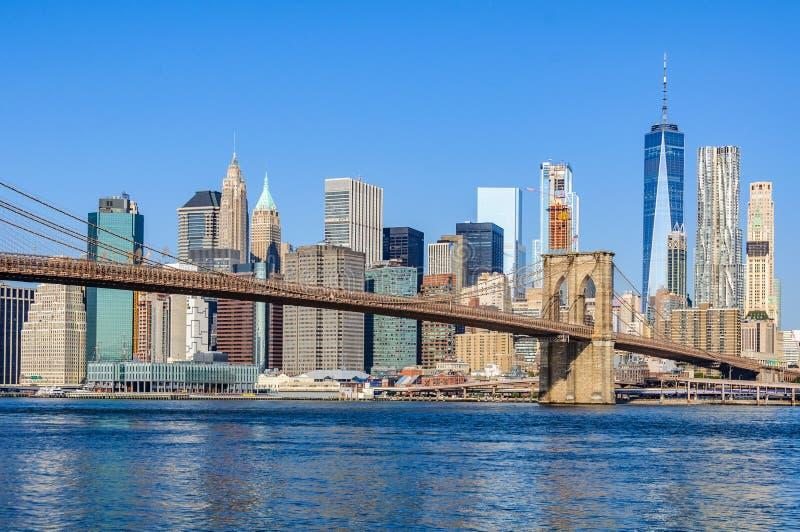 Horizonte del Lower Manhattan de Dumbo, NYC, los E.E.U.U. fotografía de archivo libre de regalías