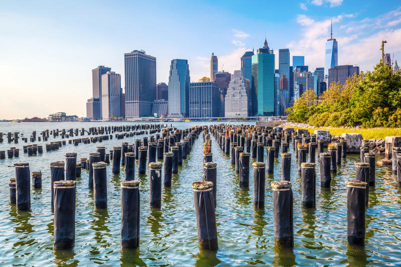 Horizonte del Lower Manhattan, NYC fotos de archivo