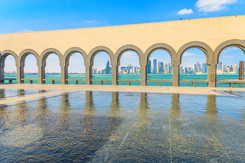 Horizonte del oeste de la bahía de Doha foto de archivo libre de regalías