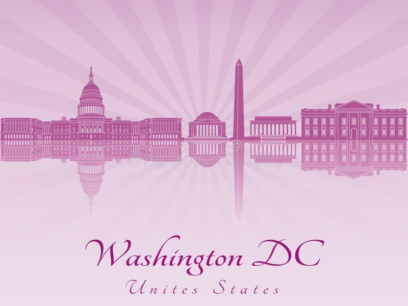 Horizonte del Washington DC en orquídea radiante púrpura ilustración del vector
