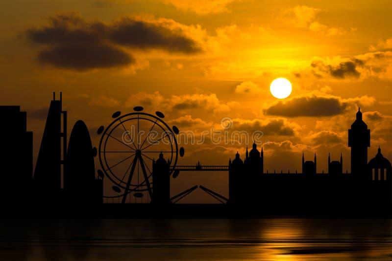 Horizonte dramático de Londres con puesta del sol libre illustration