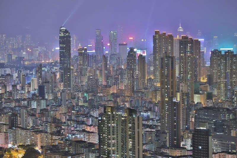 Horizonte en la noche, una sinfonía de HK de las luces fotografía de archivo libre de regalías