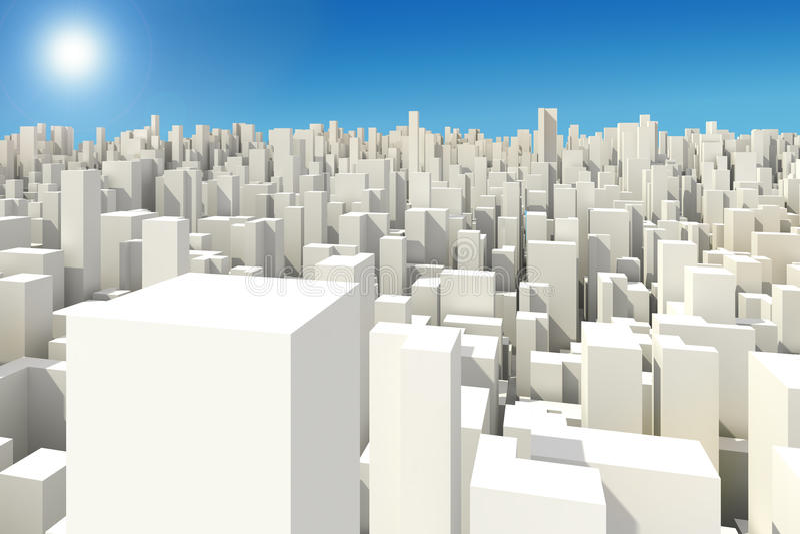 horizonte grande de la ciudad 3d libre illustration