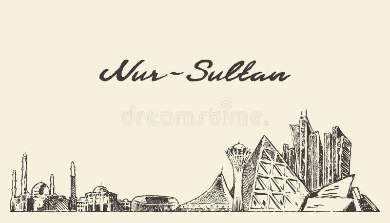 Horizonte Kazajist?n de Nur-Sultan Astana dibujar un vector stock de ilustración