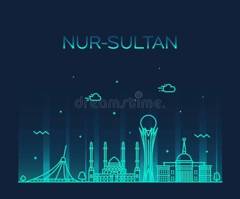 Horizonte Kazajistán de Nur-Sultan Astana una ciudad del vector stock de ilustración