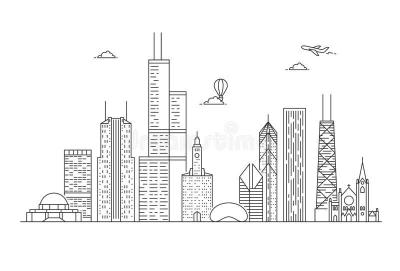 Horizonte linear de la ciudad de Chicago stock de ilustración