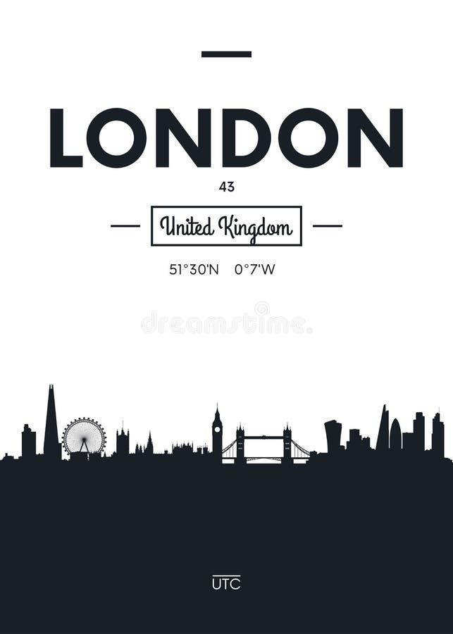 Horizonte Londres, ejemplo plano de la ciudad del cartel del vector del estilo libre illustration