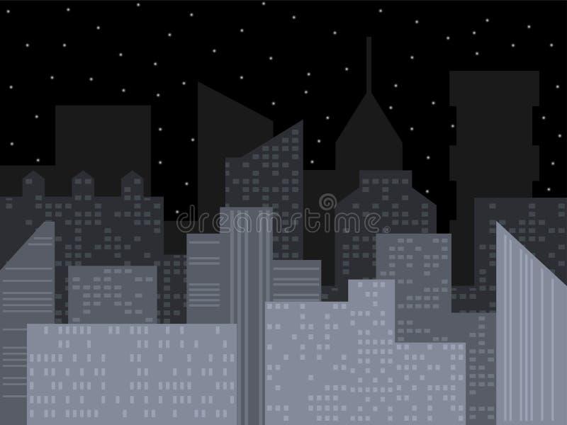 Horizonte moderno de la ciudad Ejemplo del vector de la ciudad de la noche Paisaje urbano urbano del vector del esquema Fondo del libre illustration