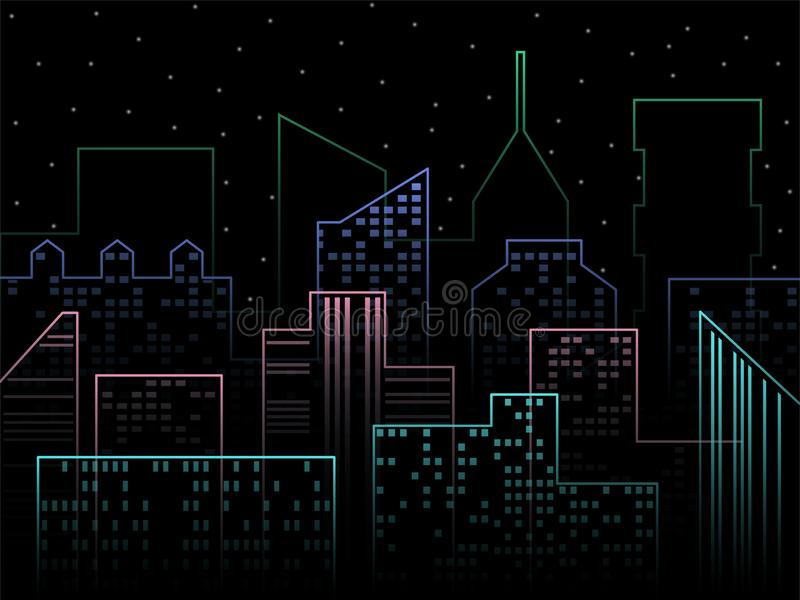 Horizonte moderno de la ciudad Ejemplo del vector de la ciudad de la noche Paisaje urbano urbano del vector del esquema Fondo del stock de ilustración