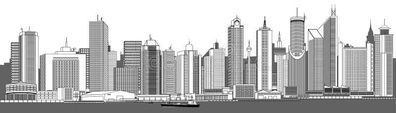 Horizonte muy detallado de la ciudad ilustración del vector