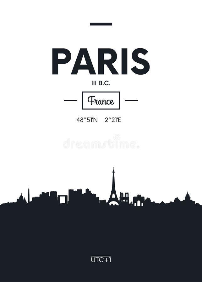 Horizonte París, ejemplo plano de la ciudad del cartel del vector del estilo stock de ilustración
