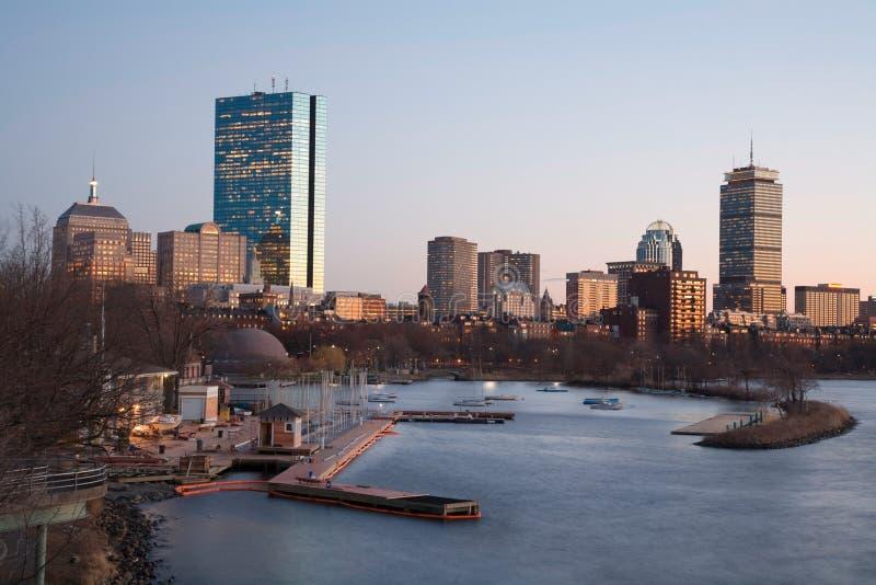 Horizonte posterior de la bahía de Boston imágenes de archivo libres de regalías