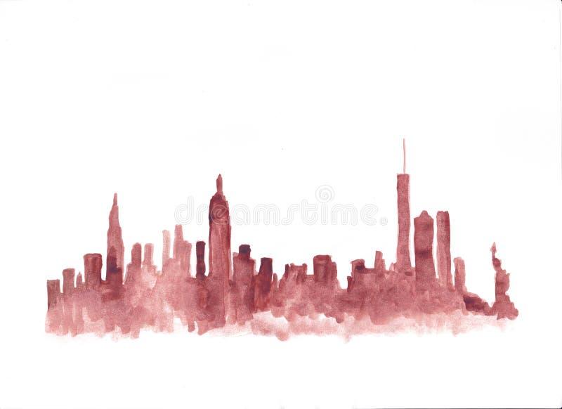 Horizonte rojo de la acuarela de New York City ilustración del vector