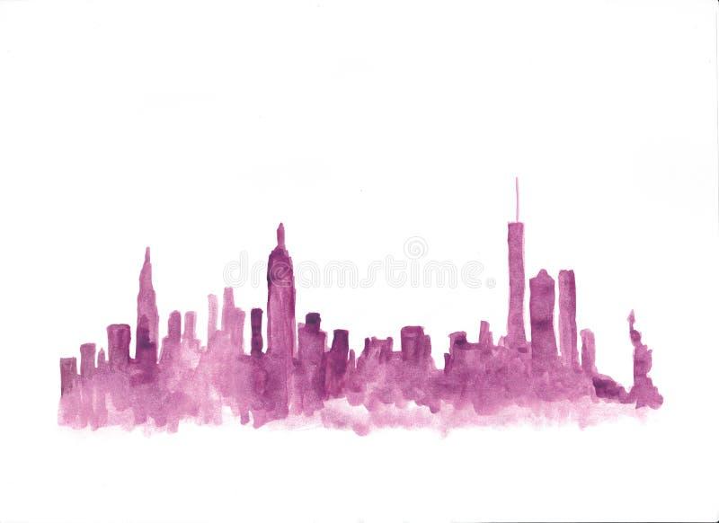 Horizonte rosado de la acuarela de Nueva York stock de ilustración